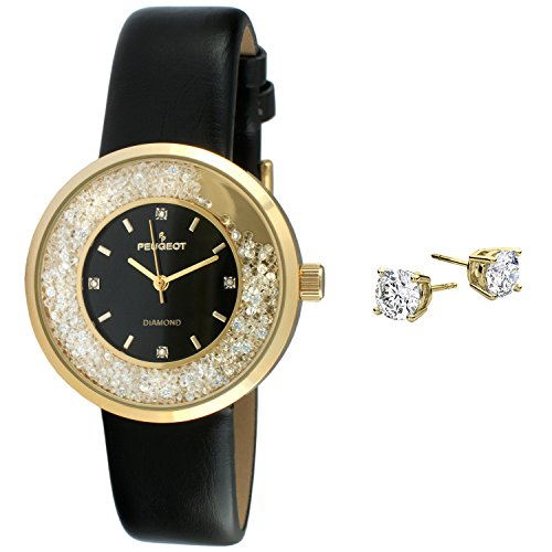 Floating Peugeot Women's Genuine Diamond 14K Gold Plated Crystal Watch Fashion Jewelry Sets Matching Stud Earrings