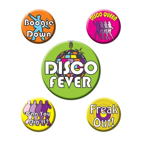 Club Pack of 60 Orange, Pink, Green and Yellow Disco Themed Party Buttons