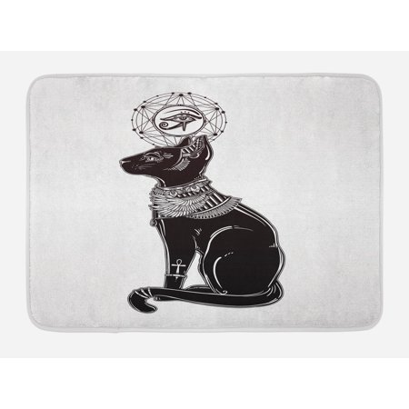 Occult Bath Mat, Vintage Legendary Mystical Egyptian Cat Sphinx Icon Eastern Design Artwork Print, Non-Slip Plush Mat Bathroom Kitchen Laundry Room Decor, 29.5 X 17.5 Inches, Black Grey, Ambesonne - Egyptian Cat Sphynx