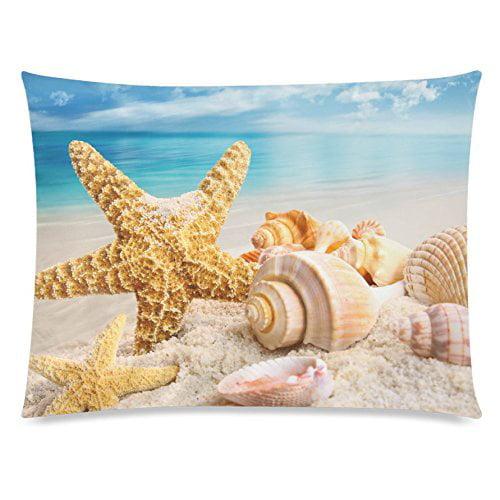 ZKGK Sea Starfish Seashell Beach Home Decor, Ocean Blue Sky Soft Pillowcase 20 x 30... by ZKGK