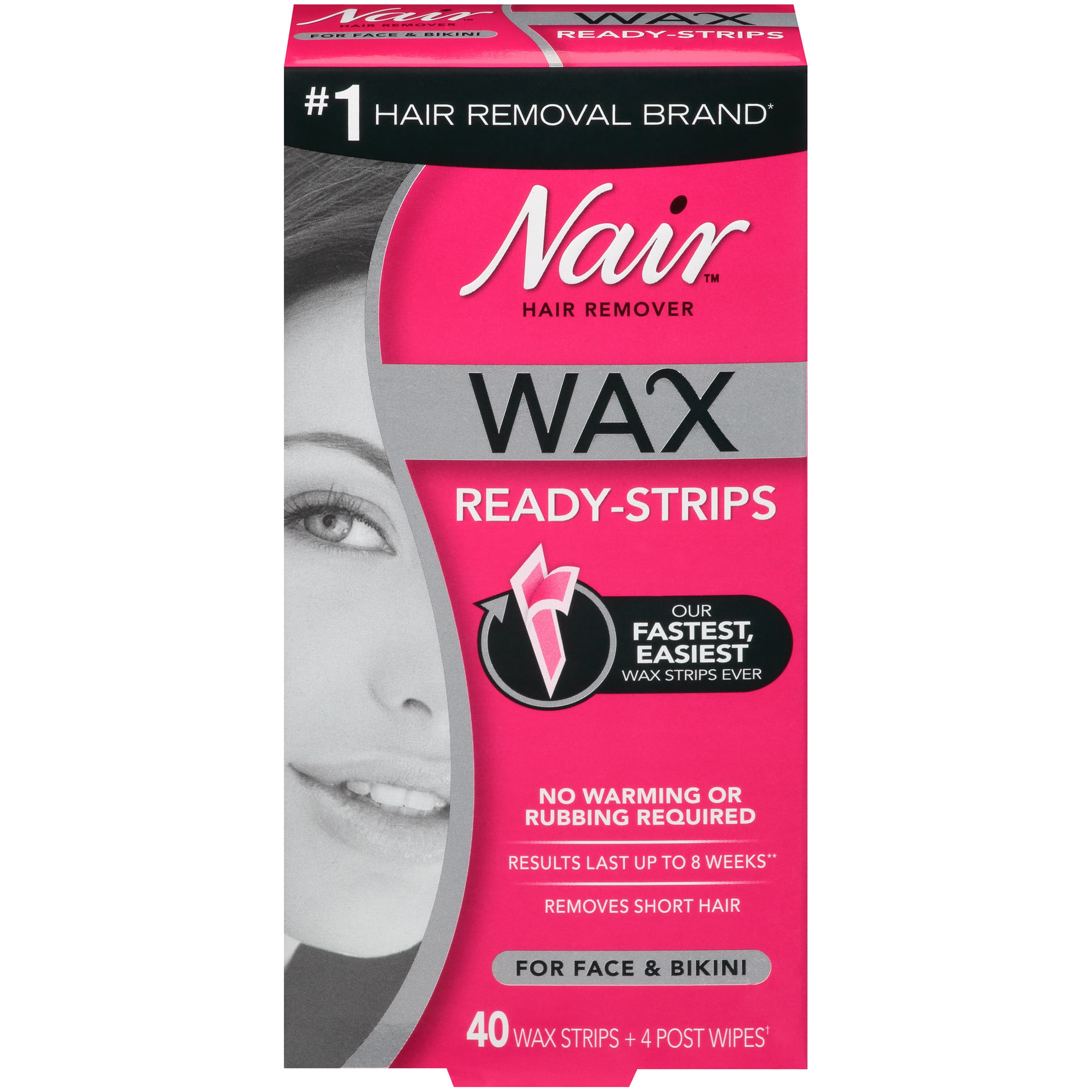 Nair Hair Remover Wax Ready Strips For Face Bikini 40 Ct