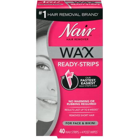 Nair Hair Remover Wax Ready Strips For Face Bikini 40 Ct