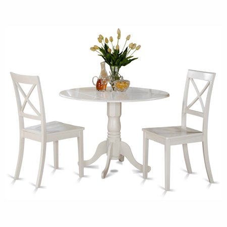 East West Furniture Dublin 3 Piece Drop Leaf Dining Table Set with Boston Wooden Seat Chairs ()