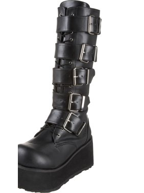 561570368b03 Product Image 3 1 4 Inch Mens Platform Knee Boots 5 Buckled Black Combat  Boots Punk Goth
