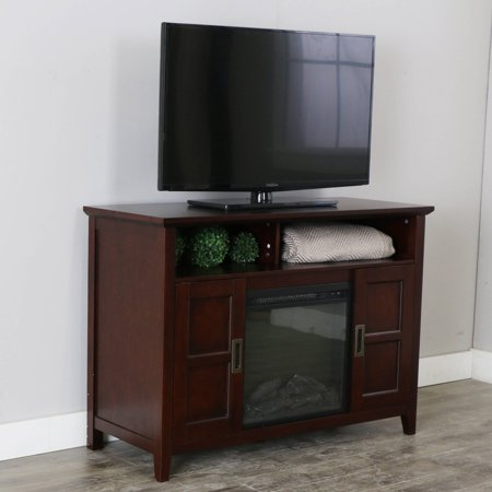 Walker Edison 52  Rustic Chic Fireplace TV Stand for TVs up to 55  - Coffee Brown Bring a touch of elegance and warmth to your entertaining space while showcasing your TV, accessories and decor with this simple chic fireplace TV stand. This stand offers open and concealed storage to house your media equipment and favorite movies, media and more. Supports most flat panel TV's up to 55 inches and provides ample storage space.