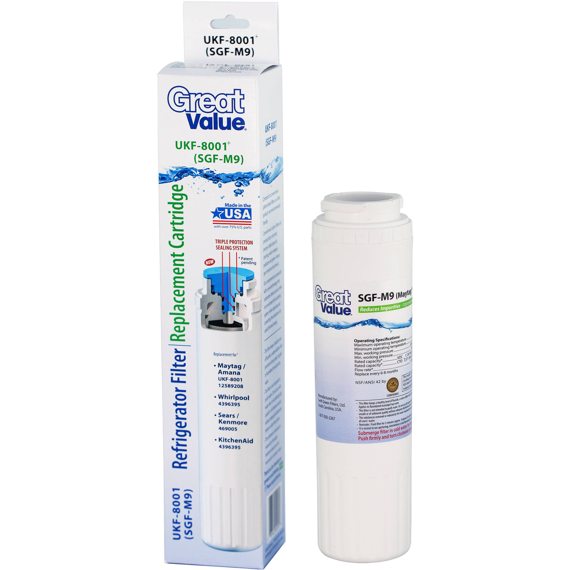 Great Value Refrigerator Filter Replacement Cartridge, UKF-8001 (SGF-M9)