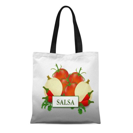 KDAGR Canvas Tote Bag Tomato Salsa Food Onion Peppers Custom Reusable Handbag Shoulder Grocery Shopping Bags