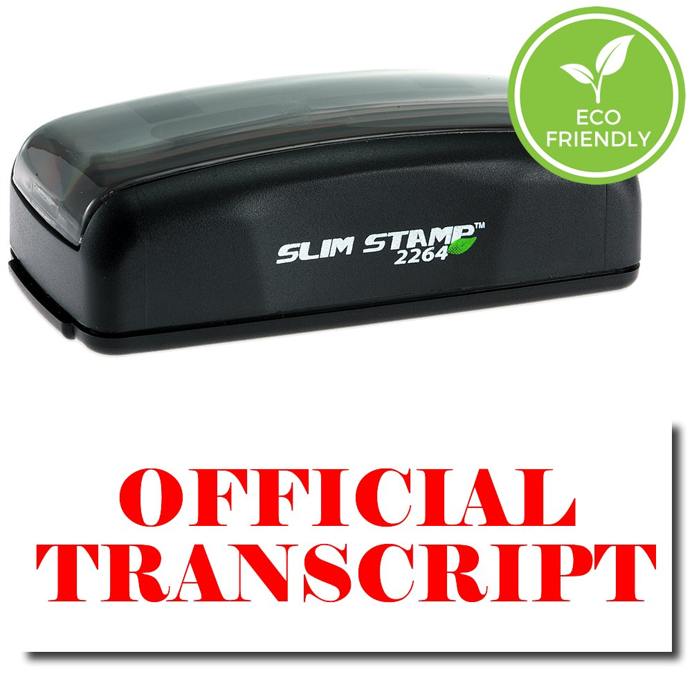 Large Pre-Inked Official Transcript Stamp with Black Ink