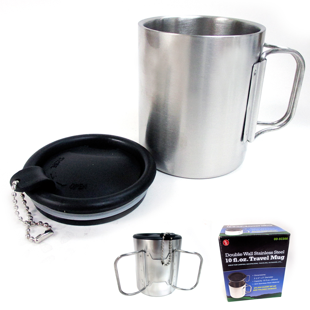 2x Stainless Steel Coffee Mugs Insulation Double Walled Drinking Cups 300ml