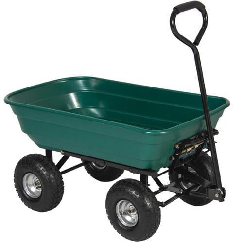 BCP Garden Dump Cart Dumper Wagon Carrier Wheel Barrow 650lb Capacity