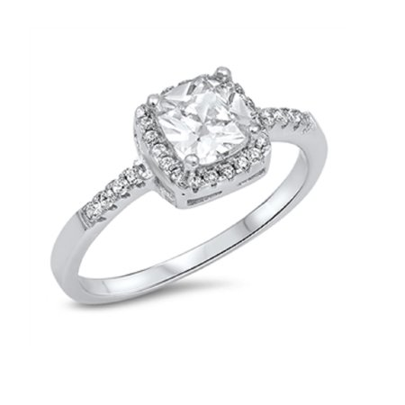 All in Stock - Princess Cut Cubic Zirconia Engagement Ring ...