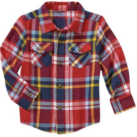 03980a14 Healthtex - Baby Toddler Boy Long Sleeve Flannel Shirt - Walmart.com