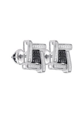 FB Jewels Sterling Silver Mens Round Black Color Enhanced Diamond Square Cluster Stud Earrings .03 Cttw