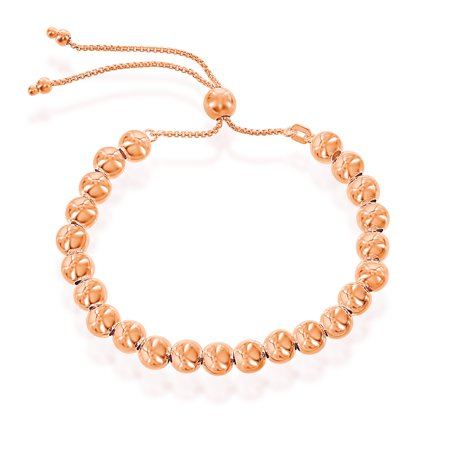 Sterling Silver Rose Plate (Italian Sterling Silver 14k Rose Gold Plated over silver 6mm High Polish Round Beads Adjustable Bolo Friendship Bracelet )