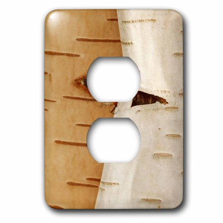 3dRose Oregon, Keizer, peeling bark on a Paper Birch. - 2 Plug Outlet Cover - Birch Bark Paper