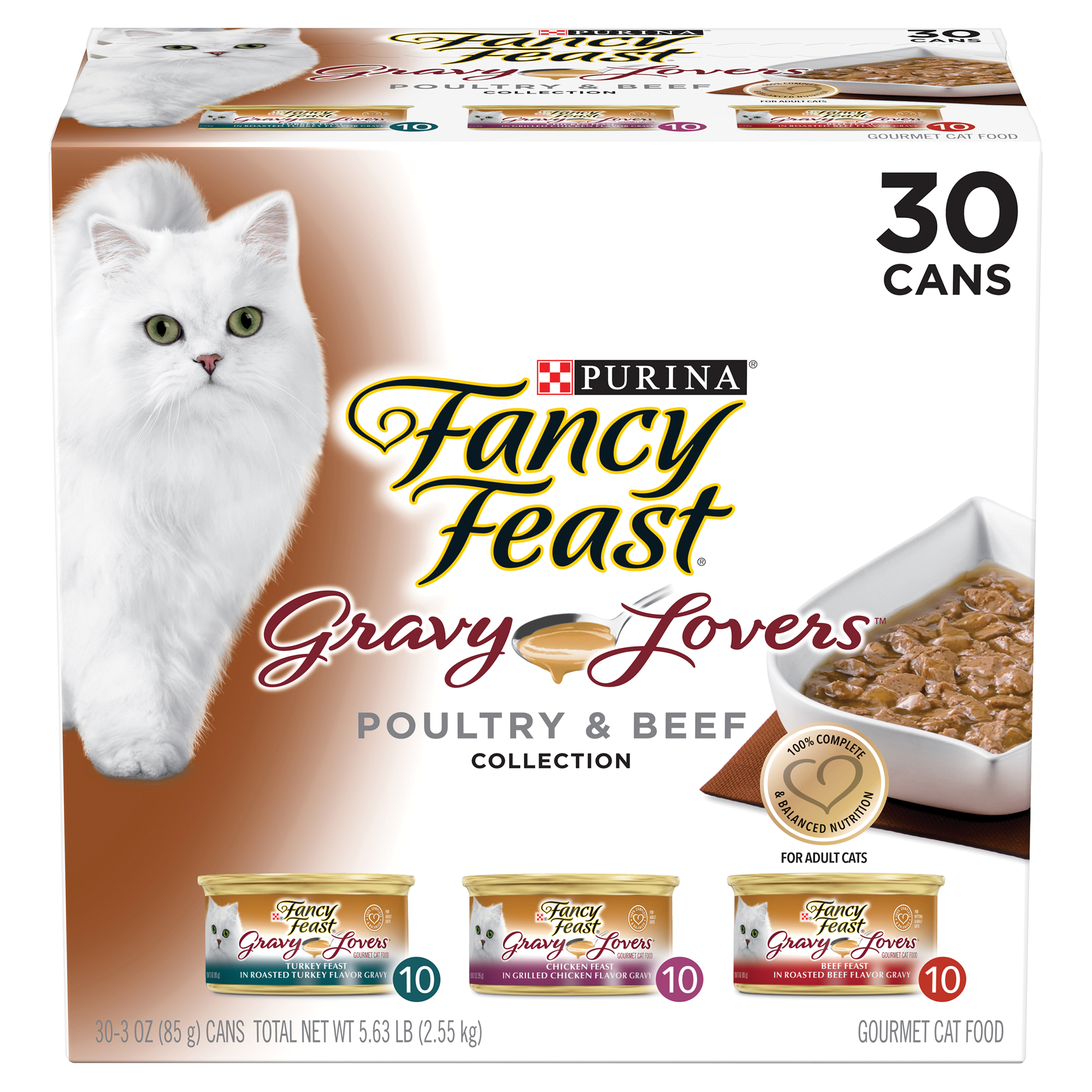 Purina Fancy Feast Gravy Lovers Poultry & Beef Feast Collection Wet Cat Food Variety Pack - (30) 3 oz. Cans