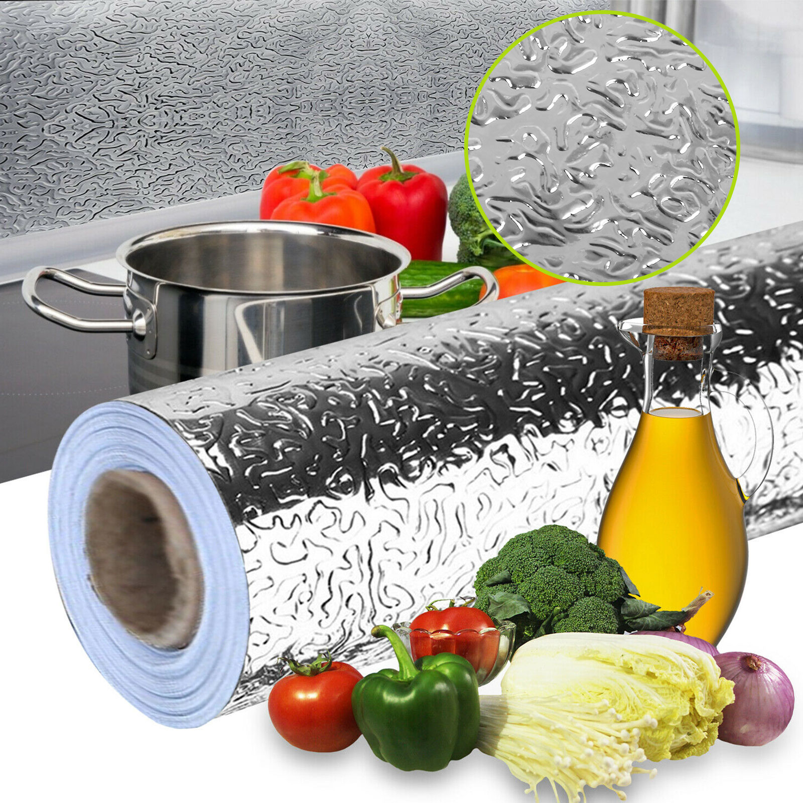 Aluminum Self-Adhesive Kitchen Dust Foil Oil Proof Waterproof Wall Stickers New