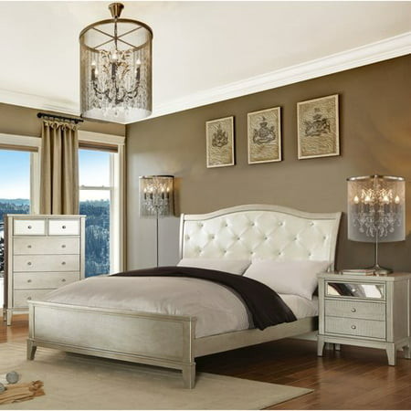 Furniture of America Malayah Contemporary Style 2-Piece Silver Bedroom Set, Multiple Sizes