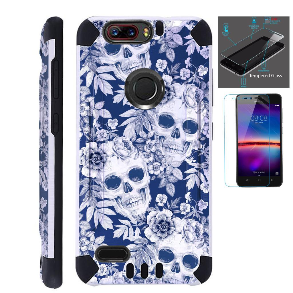 For ZTE Blade Z Max (Metro PCS) / ZTE ZMax Pro 2 / ZTE Grand X Max 4 / ZTE Sequoia Case + Tempered Glass Slim Dual Layer Brushed Texture Hybrid TPU KomBatGuard Phone Cover (Skull Flower)