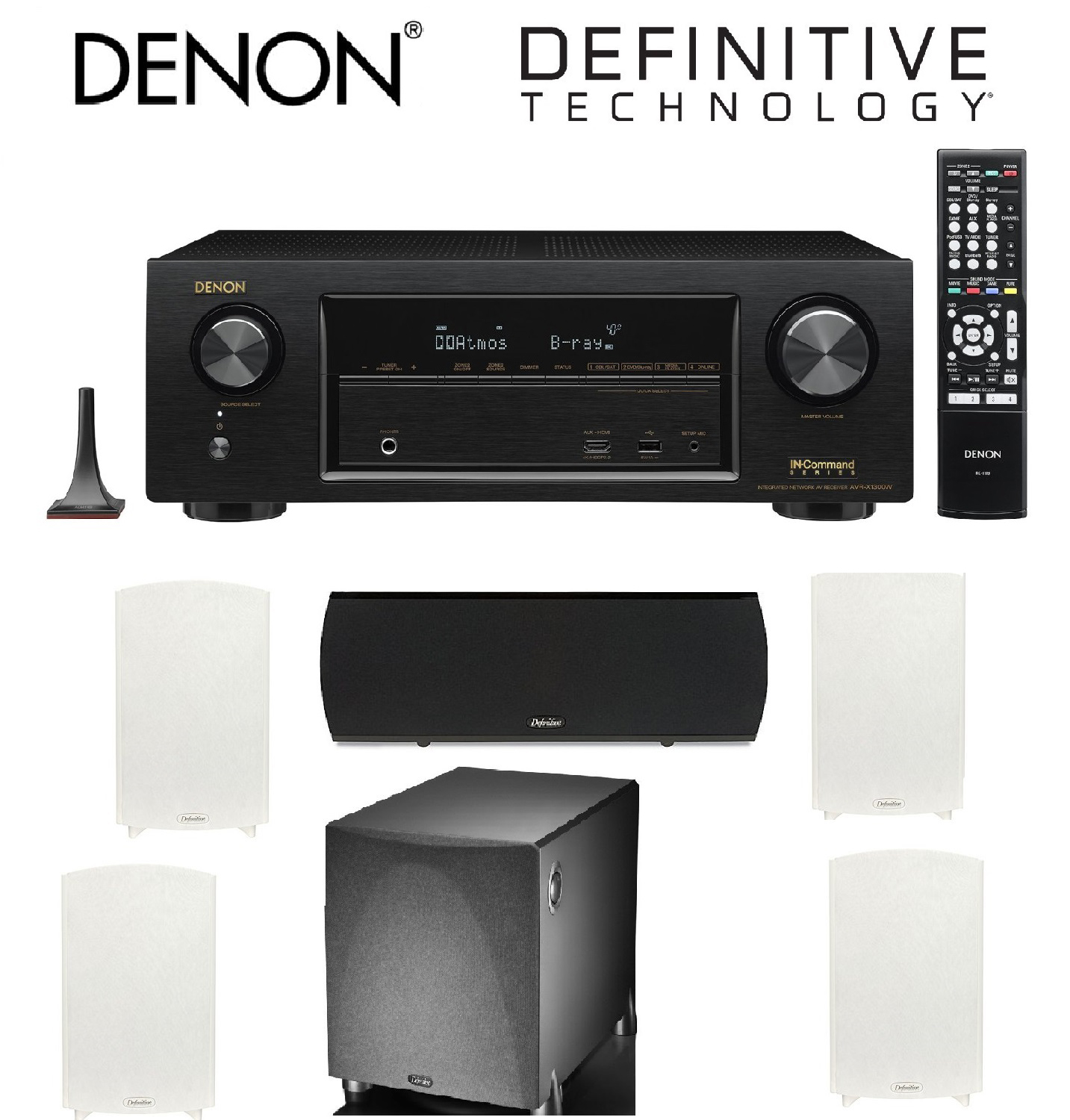 Denon AVR-X1300W Channel Full 4K Ultra HD AV Receiver with Bluetooth + 2 Pairs of Definitive Technology ProMonitor 1000... by Denon