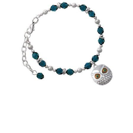 Silvertone Large Round Owl with Green Crystal Eyes Navy Blue Beaded Bracelet