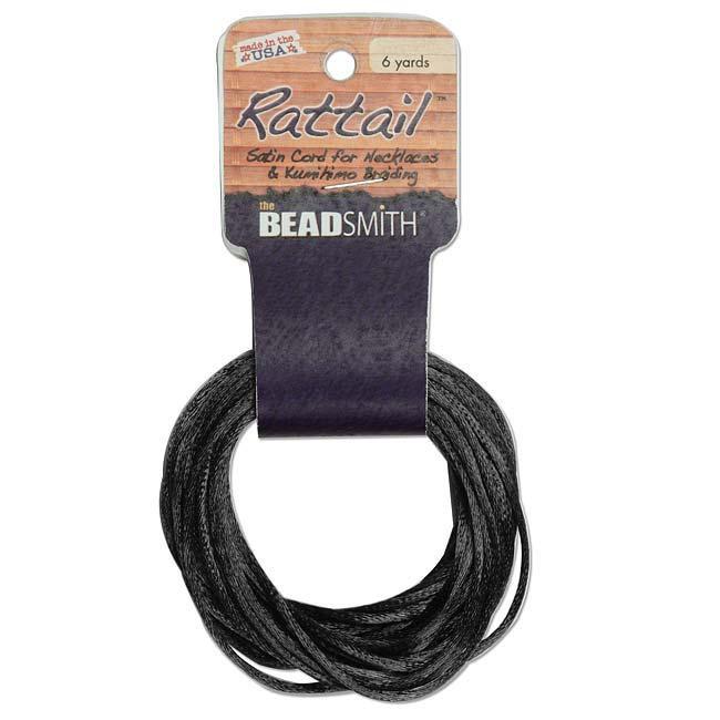 Satin Rattail Braiding Cord 3mm Black 6 Yards - For Kumihimo, Macrame & Knotting