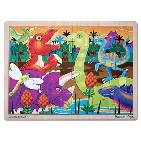Melissa & Doug Prehistoric Dinosaurs at Sunset Wooden Jigsaw Puzzle (24 pcs) for $<!---->