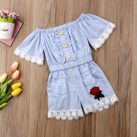 7b699a203334 Toddler Kids Girl Button Down Off Shoulder Bib Short Pants 3D Floral Sewing Romper  Jumpsuit Playsuit - Walmart.com