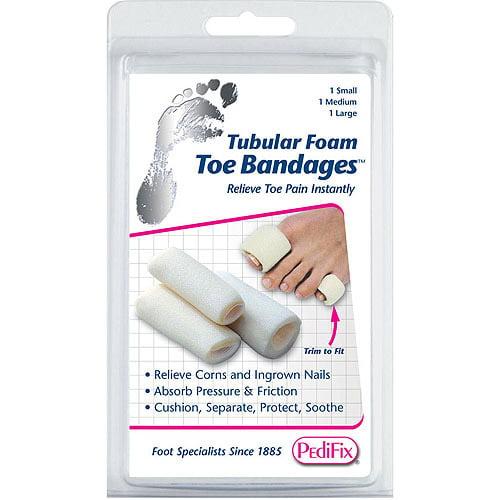 Pedifix Tubular-Foam Toe Bandages, 3ct