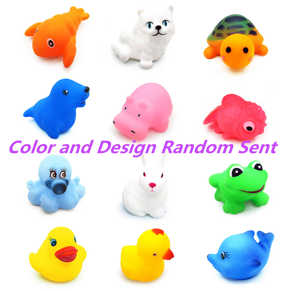 12PCS Rubber Animals With Sound Toys Toys for Baby Shower Bath