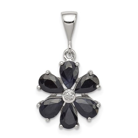 925 Sterling Silver Dark Sapphire Diamond Flower Pendant Charm Necklace Gemstone Fine Jewelry For Women Gift Set