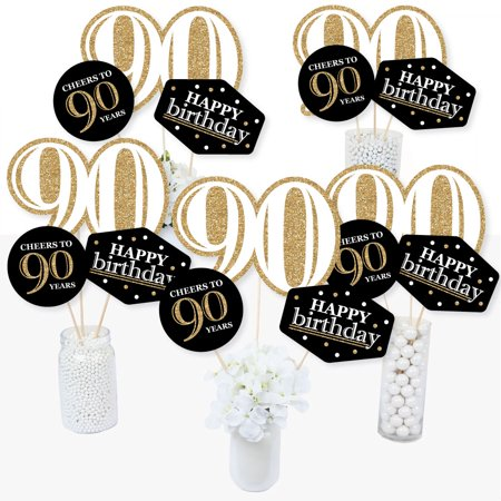 Adult 90th Birthday - Gold - Birthday Party Centerpiece Sticks - Table Toppers - Set of 15 (90th Birthday Centerpieces)
