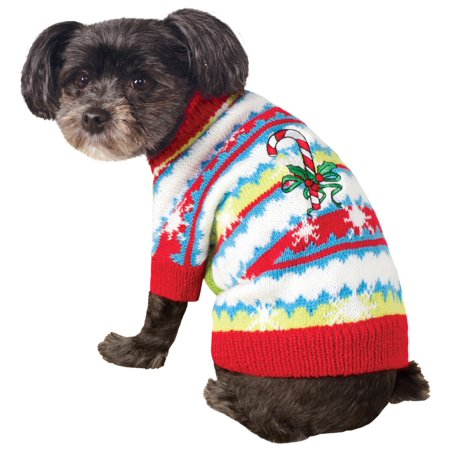 Ugly Christmas Sweater with Candy Canes Pet Costume](Ugly Costume)