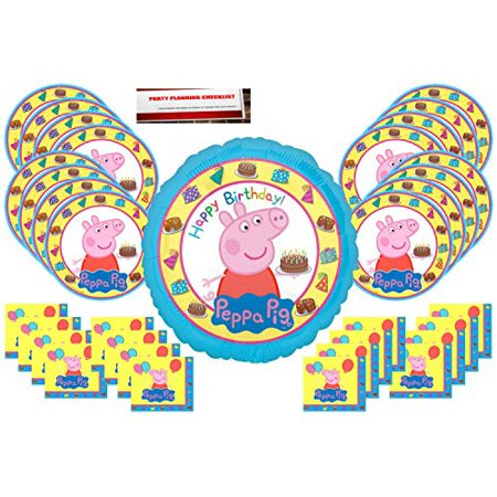 Peppa Pig Party Supplies Bundle Pack for 16 guests (Bonus 17 Inch Balloon Plus Party Planning Checklist by Mikes Super Store)](Nearest Party Stores)