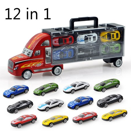 Portable Container Kids Toy Truck+12pcs Inertial Alloy Metal  Simulation Mini Car Toy for Kids Gifts