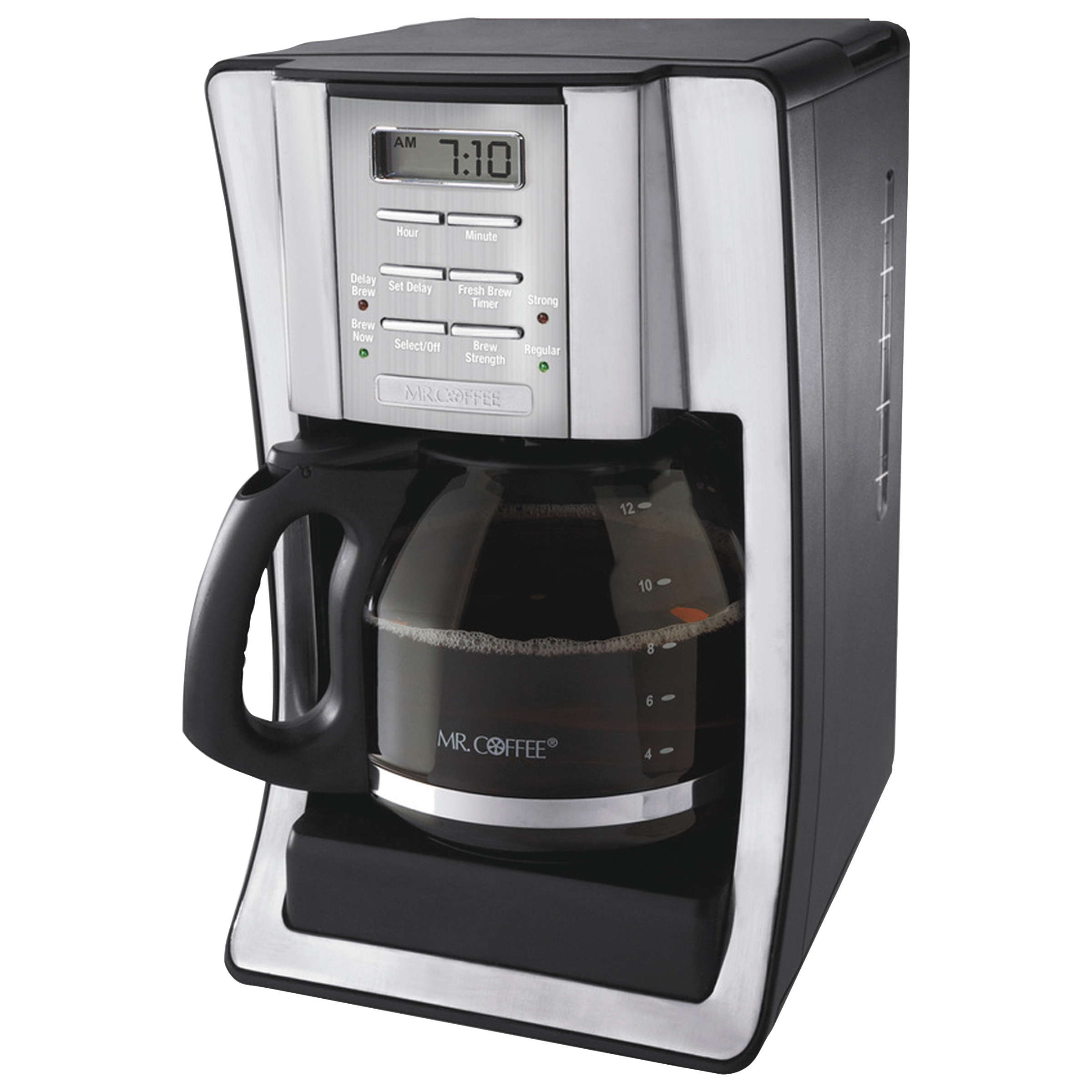 Mr. Coffee 12-Cup Programmable Coffeemaker, Black/Brushed Silver