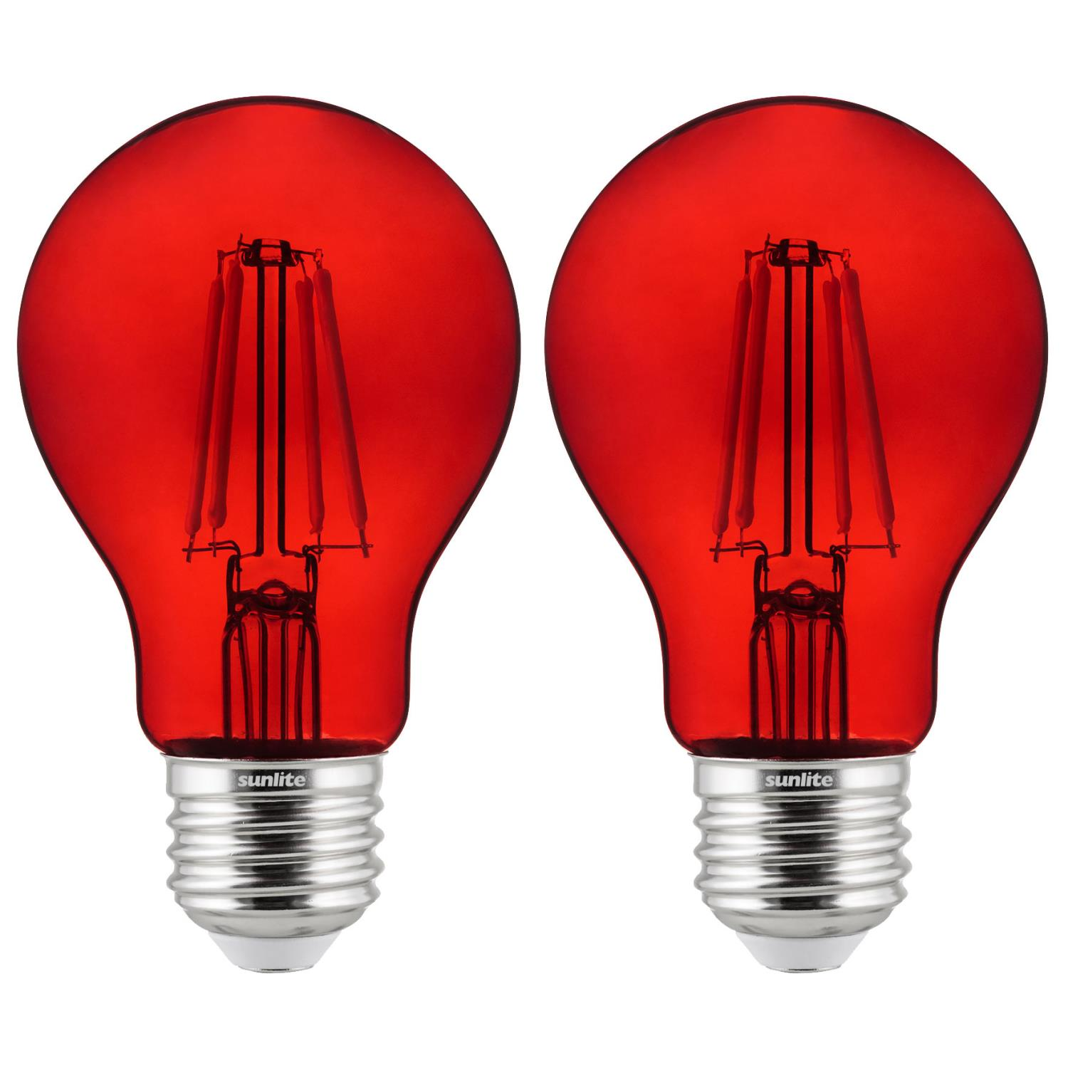 2-Pack Sunlite LED Transparent Red A19 Filament Bulbs, 4.5 Watts, Dimmable, UL Listed
