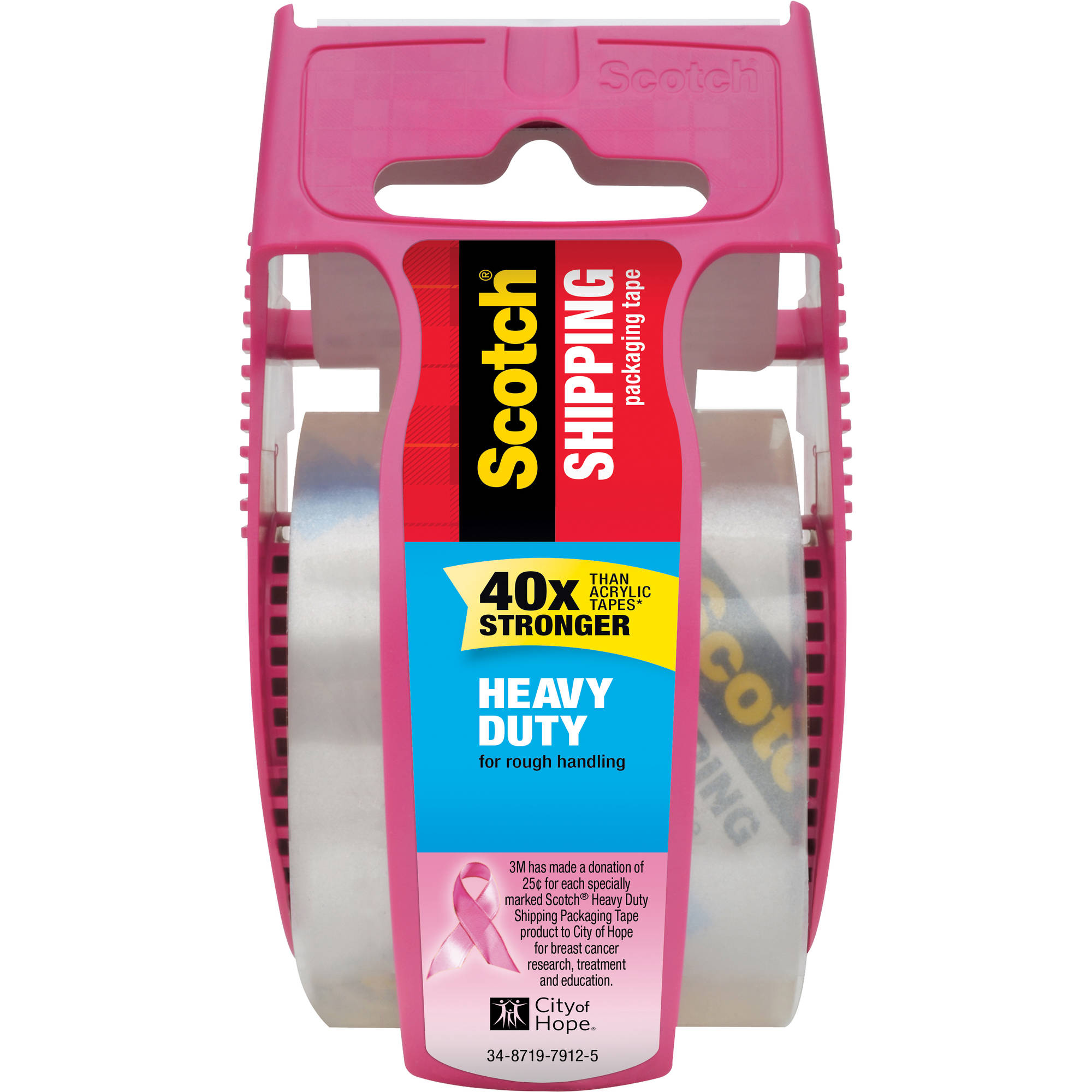 Scotch Heavy Duty Shipping Packaging Tape With Dispenser, 1.88 in. x 800 in., Clear, 1 Pink Dispenser/Pack