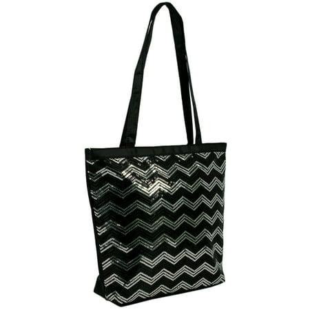 1PerfectChoice Girls Sequin Chevron Shoulder  Dance Tote Bag (Black & Silver)