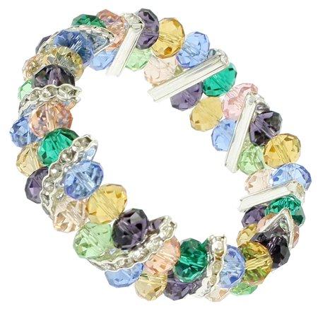 Unique Bargains Unique Bargains Ladies Rhinestone Blue Plastic Crystal Beads Decor Wrist Bracelet