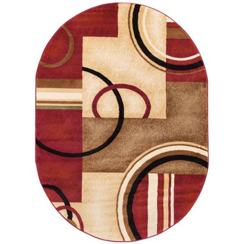 well woven arcs and shapes abstract modern circles and boxes red ivory and beige