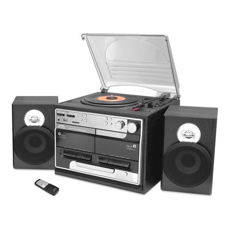 Pyle PTTCSM70BT - Vintage Classic-Style Bluetooth Turntable & Speaker System with Vinyl-to-USB Recording, Dual Cassette Decks, CD Player, AM/FM Radio
