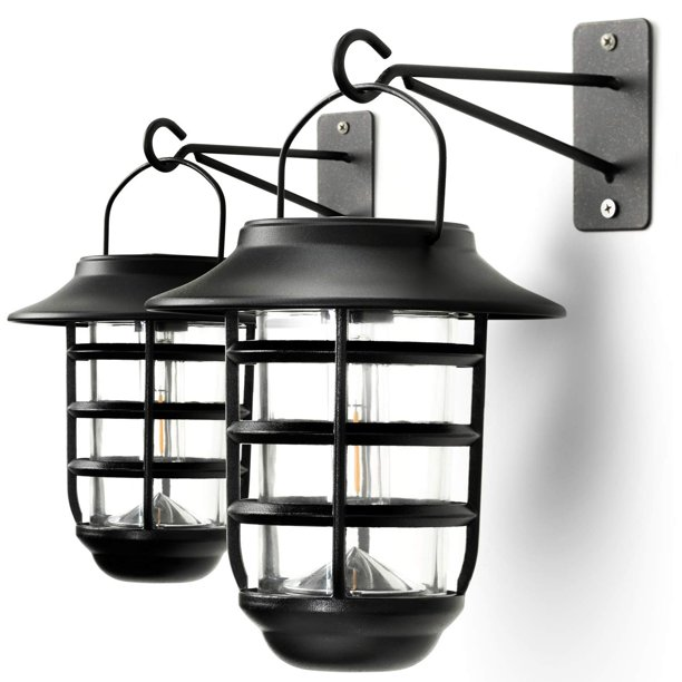 Home Zone Security Solar Wall Lantern Lights Outdoor 3000k Decorative Lantern Lights With No Wiring Required 2 Pack Walmart Com Walmart Com