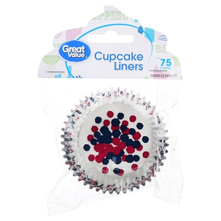 (4 Pack) Great Value Cupcake Liners, Red, White & Blue, 75 Count - Minecraft Cupcake Liners