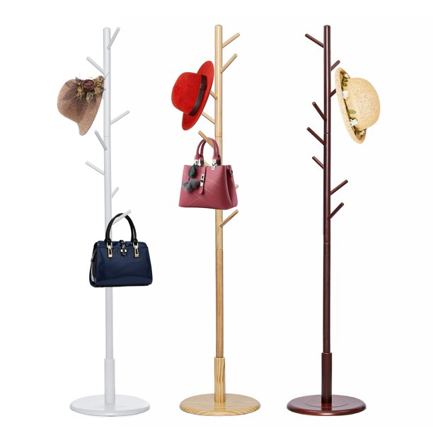 Floor Standing Coat Rack Wood Hanger Home Furniture Entryway Hall Stand & Free Standing Clothes Tree, 69 inch Height