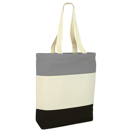 Tricolor Heavy Canvas Tote Bag