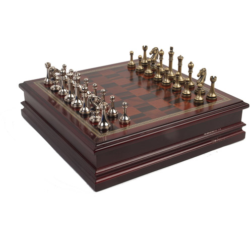 Classic Games Collection Metal Chessmen with Deluxe Wood Board