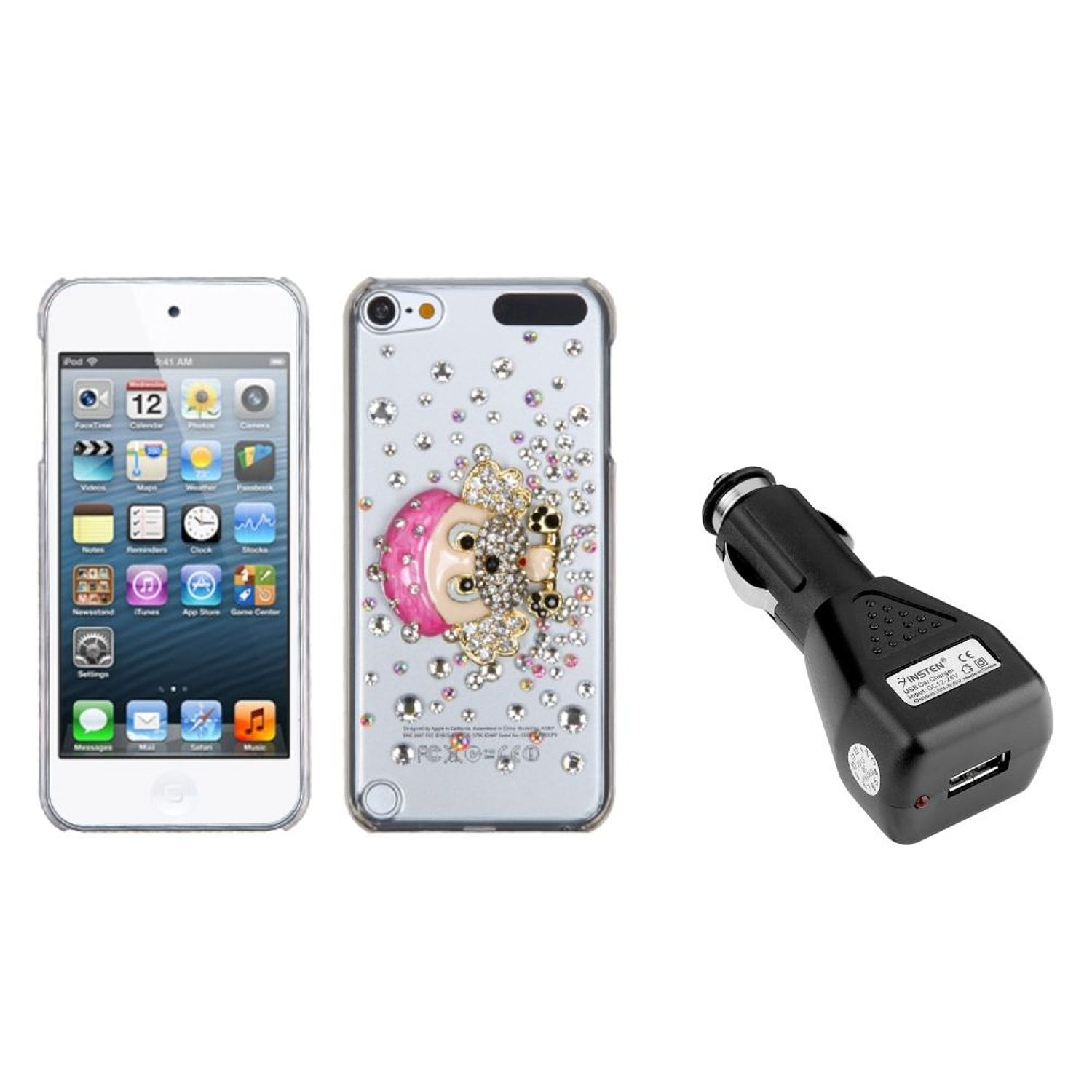 Insten Dog-Gnaw-Bone Crystal 3D Back Case For iPod Touch 6 6G 5 5G + USB Car Charger