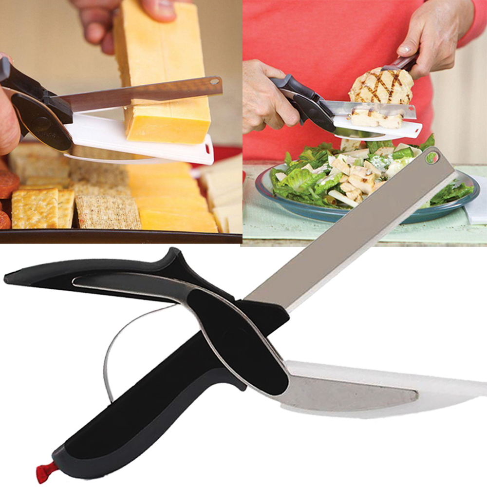 Smart Clever Cutter Kitchen Scissors Shears Food Chopper Metal Slicer Knife Cutting Board