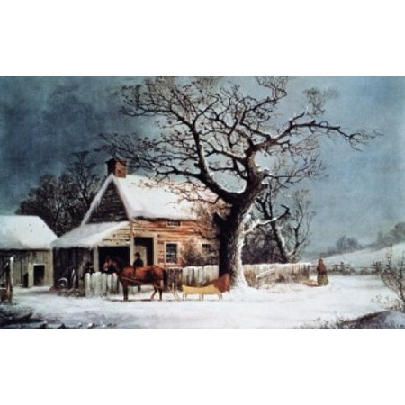 American Winter Scene A Country Cabin Currier & Ives Poster (Cabin Scene)
